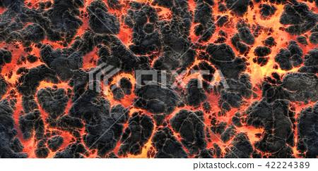 鮮豔細緻的岩漿/熔岩特寫材質紋理背景,俯視圖(無縫接圖,高解析度 3D CG 渲染∕著色插圖) 42224389