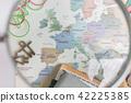 여행, 지도, 돋보기 42225385