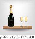 Bottle green wine and glass on wood shelf 42225488