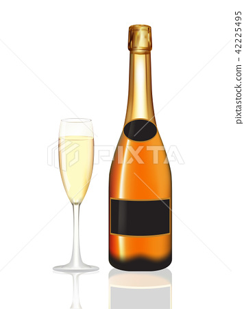 Champagne bottle and champagne glass on white 42225495