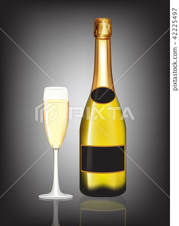 Champagne bottle and champagne glass on black 42225497