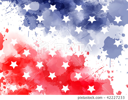 Watercolor background in USA flag colors with star 42227233