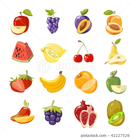 Vector juicy fruits collection 42227526