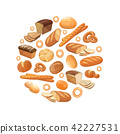 Food bread rye wheat whole grain bagel sliced french baguette croissant vector icons in circle 42227531