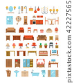 Home and office furniture interiors flat icons set 42227565