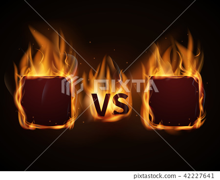 Versus screen with fire frames and vs letters. Vector illustration 42227641