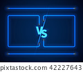 Versus screen with blue neon frames and vs letters. Stock vector 42227643