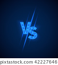 Blue neon versus logo vs letters for sports and fight competition. Vector symbol 42227646