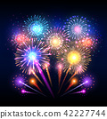 Festive vector background, poster with firework rockets bursting 42227744