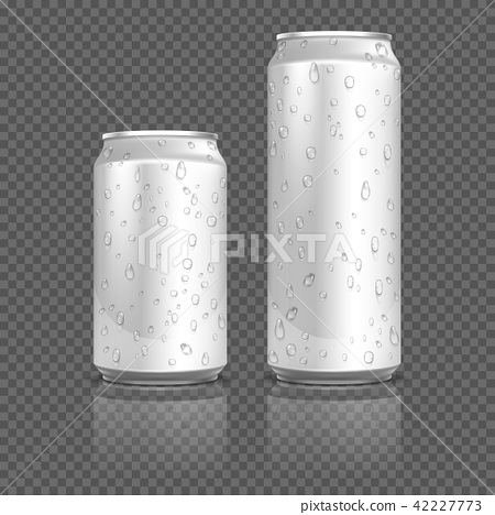 Realistic aluminum cans with water drops. Stock vector 42227773
