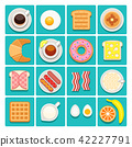 Breakfast food and drinks vector flat icons 42227791