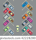 Parked cars on the parking top view, Vector urban transport concept 42228280