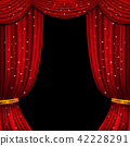 Red open curtain with glittering lights. Vector background 42228291
