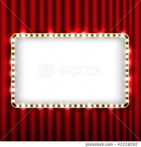 Theater scene with red curtain and sign gold frame 42228292