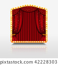 Stage curtain in shining banner with golden frame vector illustration 42228303