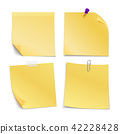 Adhesive blank notes stick with pin, clip and scotch. Vector set 42228428