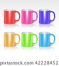 Color realistic ceramic coffee, tea mugs vector set 42228452