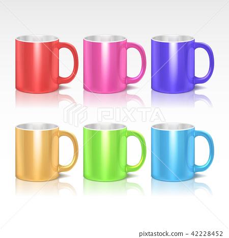 Color realistic ceramic coffee, tea mugs vector set 42228452