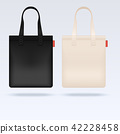 White and black fabric cloth tote bags vector mockup 42228458