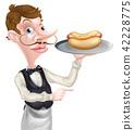 waiter, hot, dog 42228775