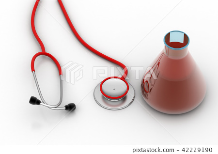 laboratory flasks with stethoscope 42229190