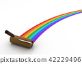 Rainbow color painting by roller brush 42229496