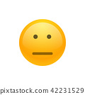 Isolated yellow emoticon expressionless smiley. 42231529
