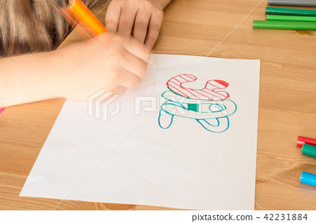 "Girl hand writing ""Summer Vacation"" in Turkish  42231884"