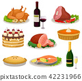 Flat vector set of traditional holiday food and drinks. Tasty meal and beverage. Delicious dishes 42231966