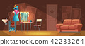 Vector cartoon interior of empty dressing room 42233264