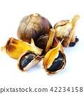 健康食品健康材料·棕色燈泡(大蒜球)和黑色大蒜黑色大蒜·白色背面正方形 42234158