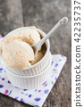 Balls Lavender ice cream on a rustic wooden 42235737