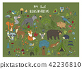 Big set of hand drawn forest illustraitions with color cartoon animals. 42236810