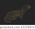 Outline vector golden weasel icon on a black background. 42236814