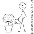 Cartoon of Man or Businessman Watering Tree in Big Pot 42237559