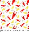 Seamless seafood pattern with boiled crayfish, lemon and dill. Crayfish food background. Great for 42238760