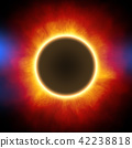 鲜艳细致的真实太空行星场景纹理背景:日食/日蚀(高分辨率 3D CG 渲染∕着色插图) 42238818