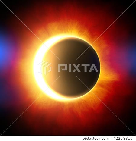 鲜艳细致的真实太空行星场景纹理背景:日食/日蚀(高分辨率 3D CG 渲染∕着色插图) 42238819
