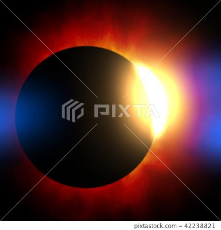 鲜艳细致的真实太空行星场景纹理背景:日食/日蚀(高分辨率 3D CG 渲染∕着色插图) 42238821