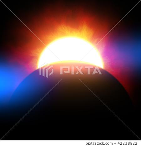 밝고 및 자세한 실제 공간 행성 장면 질감 배경 : 일식 / 일식 (고해상도 3D CG 렌더링 / 그림 색) 42238822