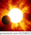 鲜艳细致的真实太空行星场景纹理背景:日食/日蚀(高分辨率 3D CG 渲染∕着色插图) 42238823
