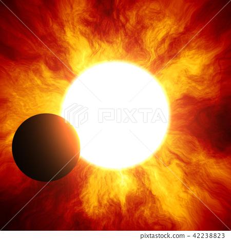 밝고 및 자세한 실제 공간 행성 장면 질감 배경 : 일식 / 일식 (고해상도 3D CG 렌더링 / 그림 색) 42238823