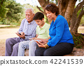 Child Helping Grandparents Going Internet On Phone 42241539