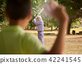 Grandpa and Grandson Boy Playing Baseball In Park 42241545
