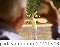 Happy Family Grandfather and Grandson Boy Playing Baseball 42241548
