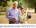Portrait Happy Family Grandfather and Boy Playing Baseball 42241551