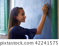 Girl Doing Math Exercise At Blackboard In High School Class 42241575
