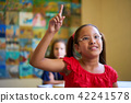 Female Student Raising Hand During Test In Class At School 42241578
