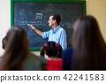 Middle Aged Teacher During Math Class At High School 42241583