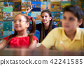 Smart Girl Raising Hand And Asking Question At School 42241585